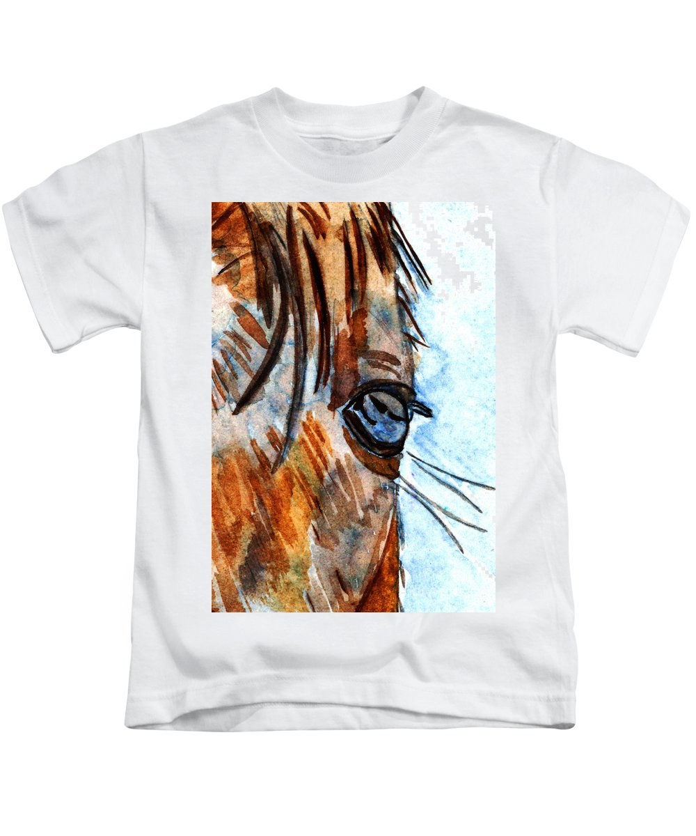 Color Kids T-Shirt featuring the painting Equine Reflection by Elizabeth Briggs