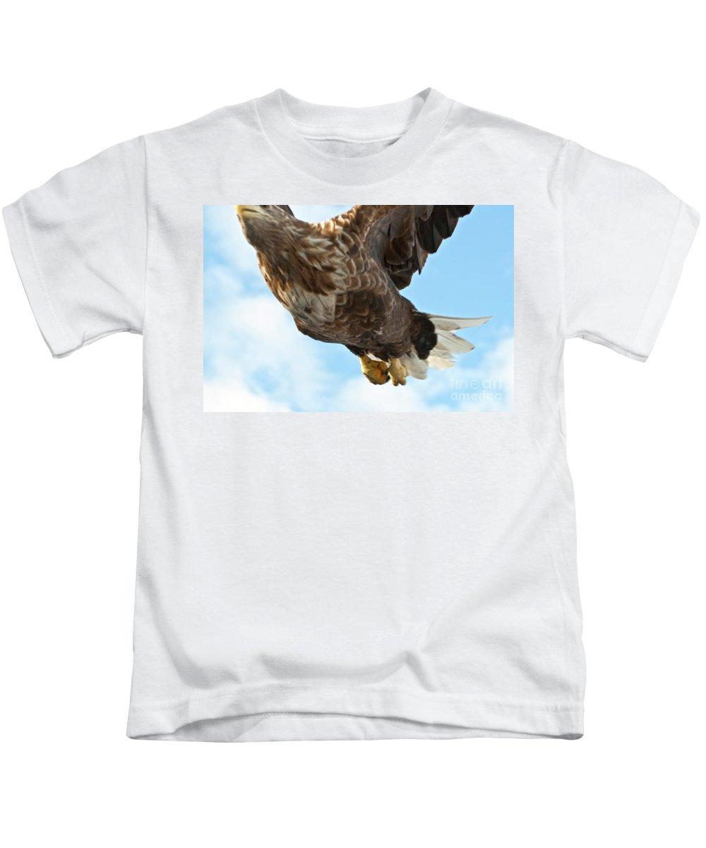 Heiko Kids T-Shirt featuring the photograph European Flying Sea Eagle 2 by Heiko Koehrer-Wagner
