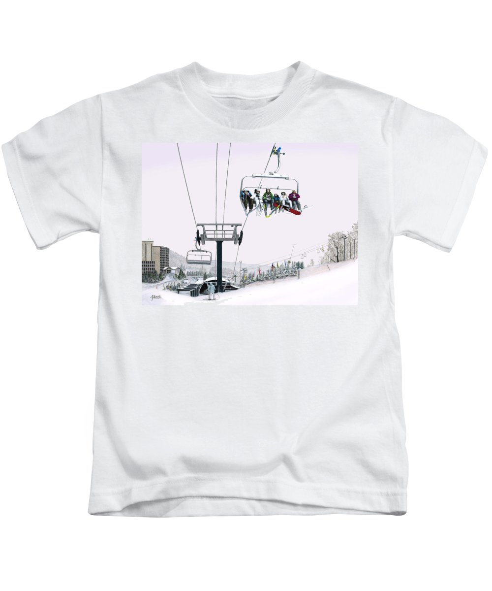 Seven Springs Mountain Resort Kids T-Shirt featuring the painting Experience Seven Springs by Albert Puskaric