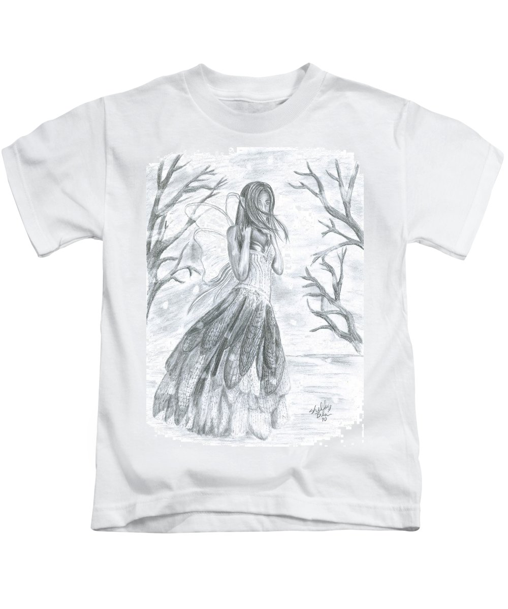 Snow Kids T-Shirt featuring the drawing Fairytale Winter by Shelley Blair