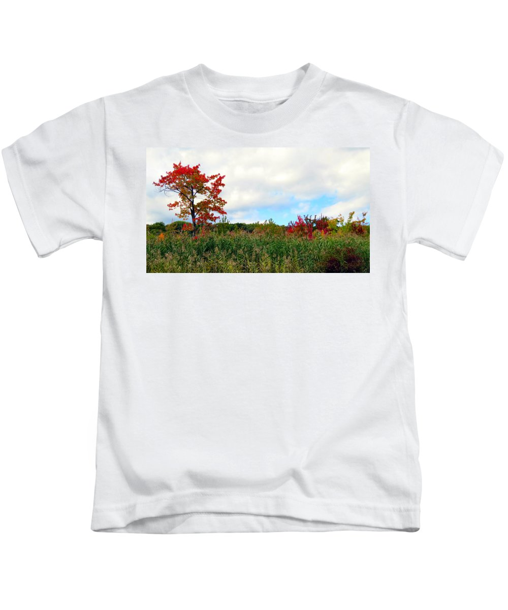 Sky Kids T-Shirt featuring the photograph Fall On Fire by Art Dingo