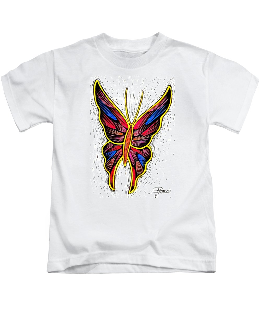 Butterfly Kids T-Shirt featuring the drawing Fantasy Butterfly by Jim Harris