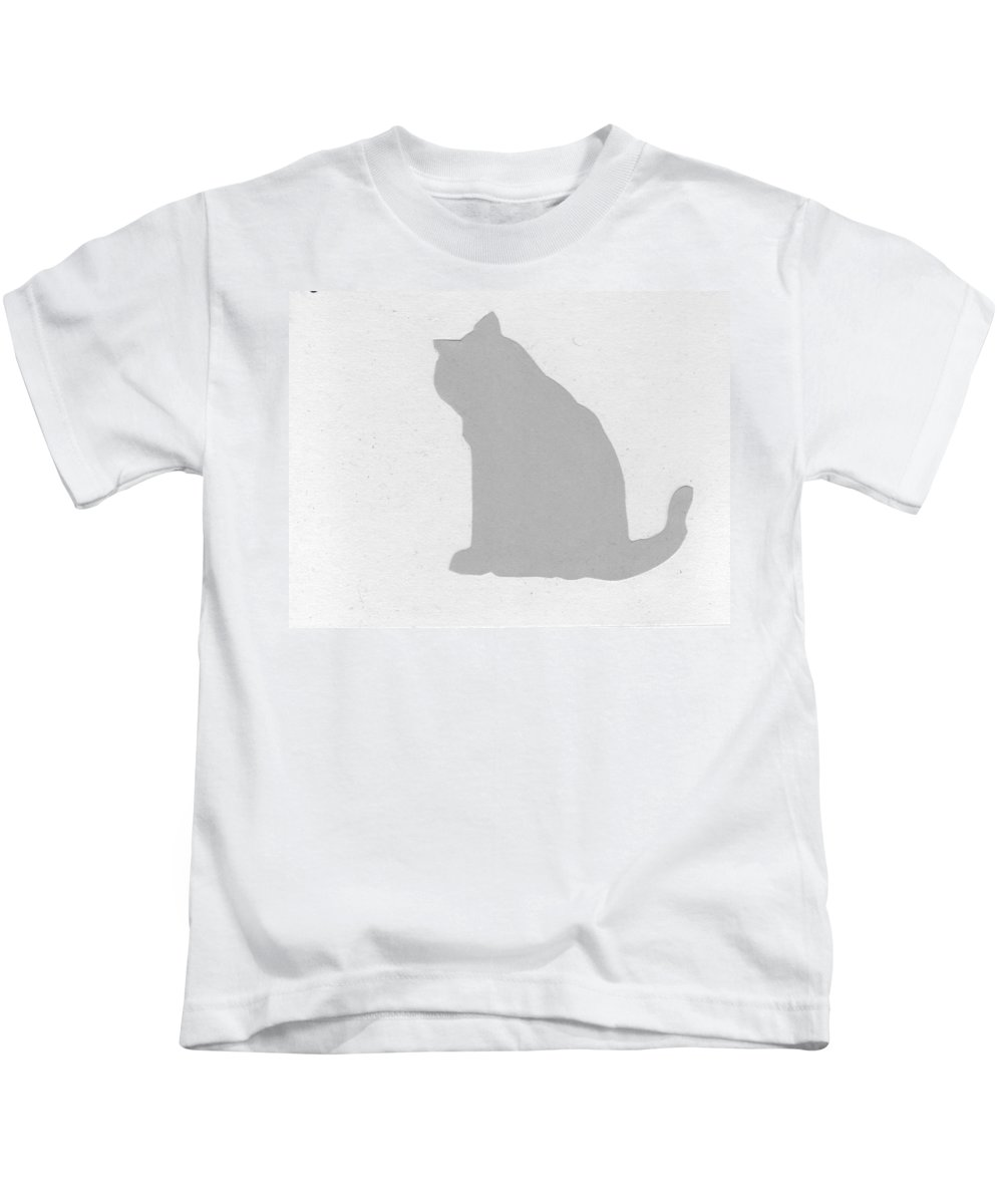 Cats Kids T-Shirt featuring the drawing Fat Cat One by Catherine Helmick