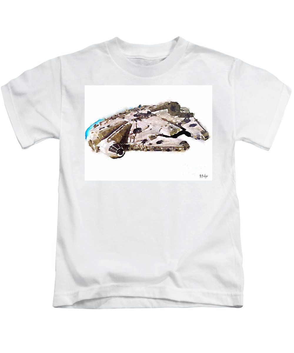 Millenium Falcon Kids T-Shirt featuring the painting Millenium Falcon by Helge