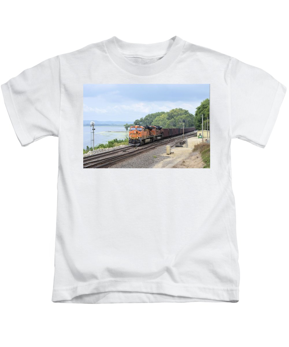 Train Kids T-Shirt featuring the photograph Ferryville Train by Bonfire Photography