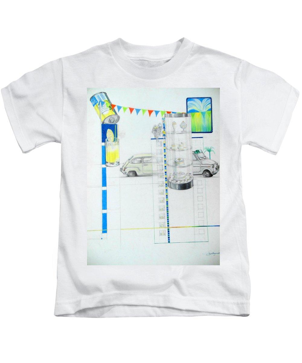 Fiat Cinquecento Kids T-Shirt featuring the drawing Fiat Cinquecento by Lucia Hoogervorst