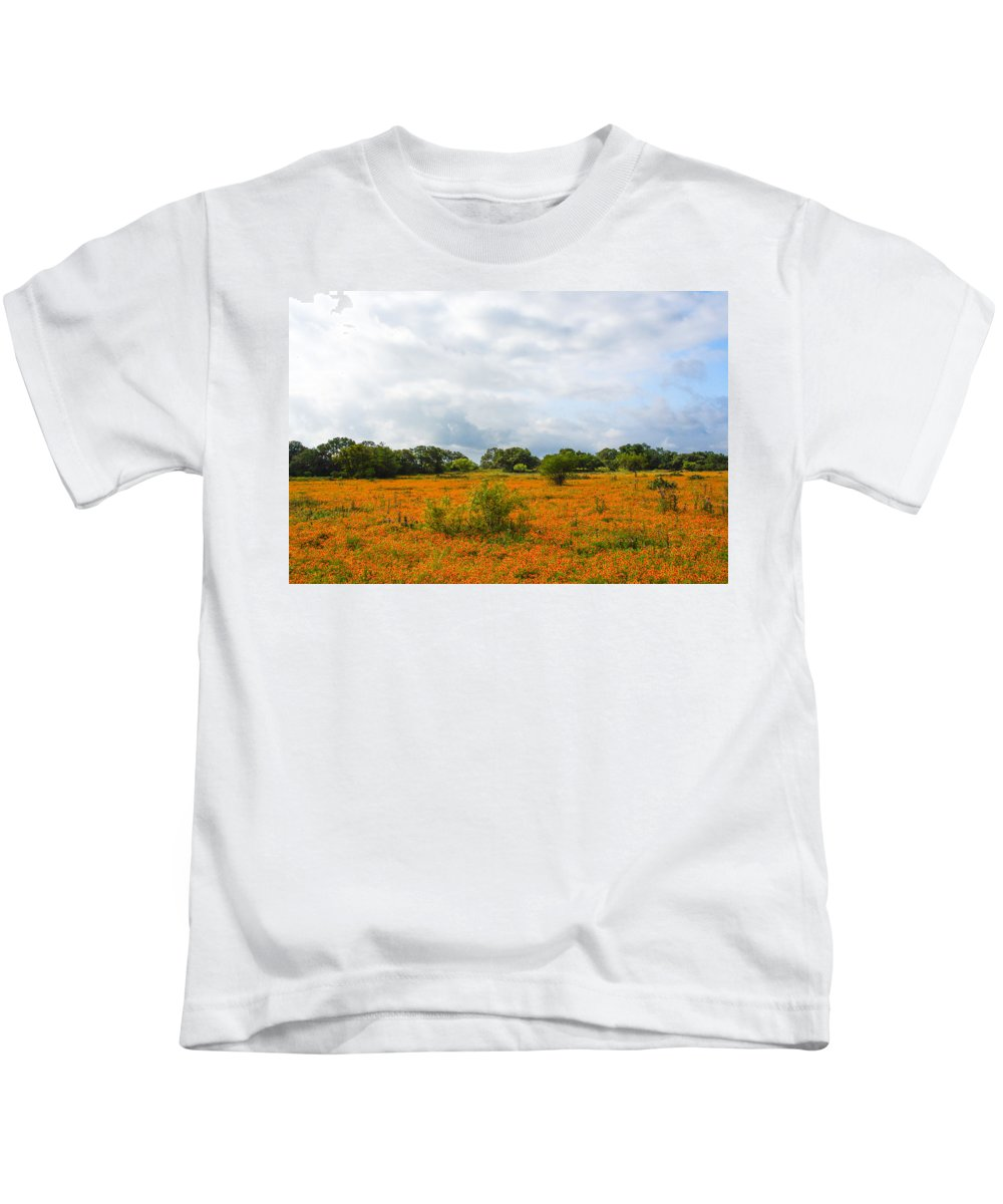 Texas Landscapes Kids T-Shirt featuring the photograph Field Ablaze by Julie Craig