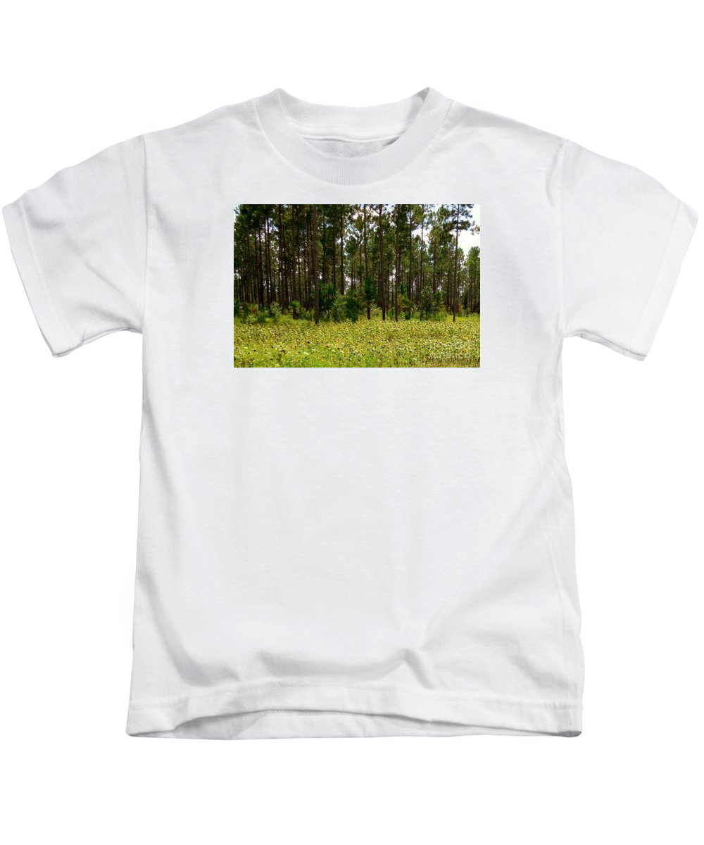 Sunflower Kids T-Shirt featuring the photograph Field Of Sunflowers by Eloise Schneider Mote
