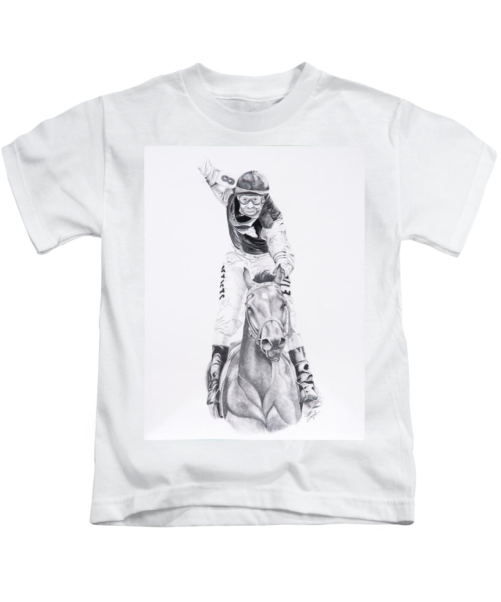 Horses Kids T-Shirt featuring the drawing Fifty To One What by Joette Snyder