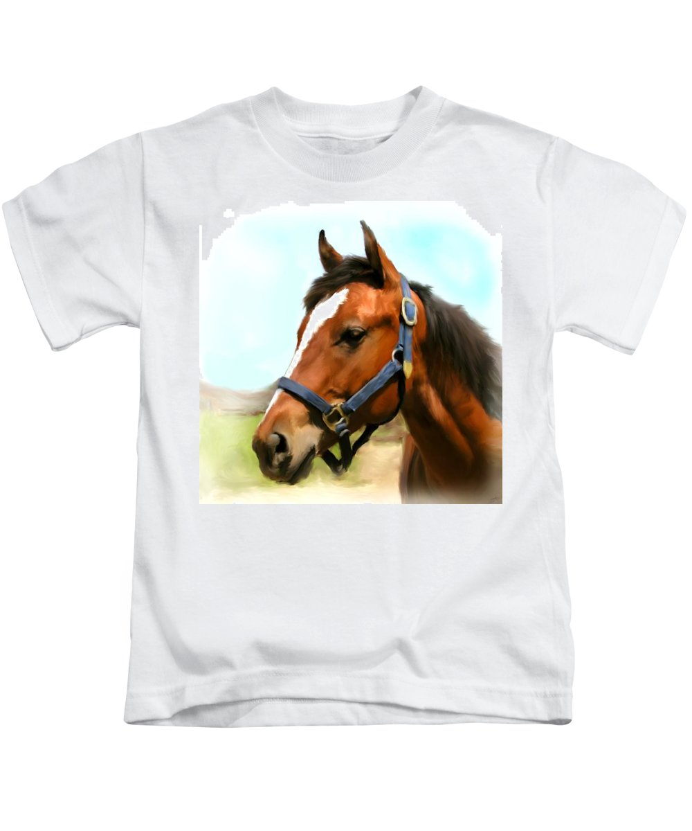 Brown Kids T-Shirt featuring the painting Filly by Paul Tagliamonte