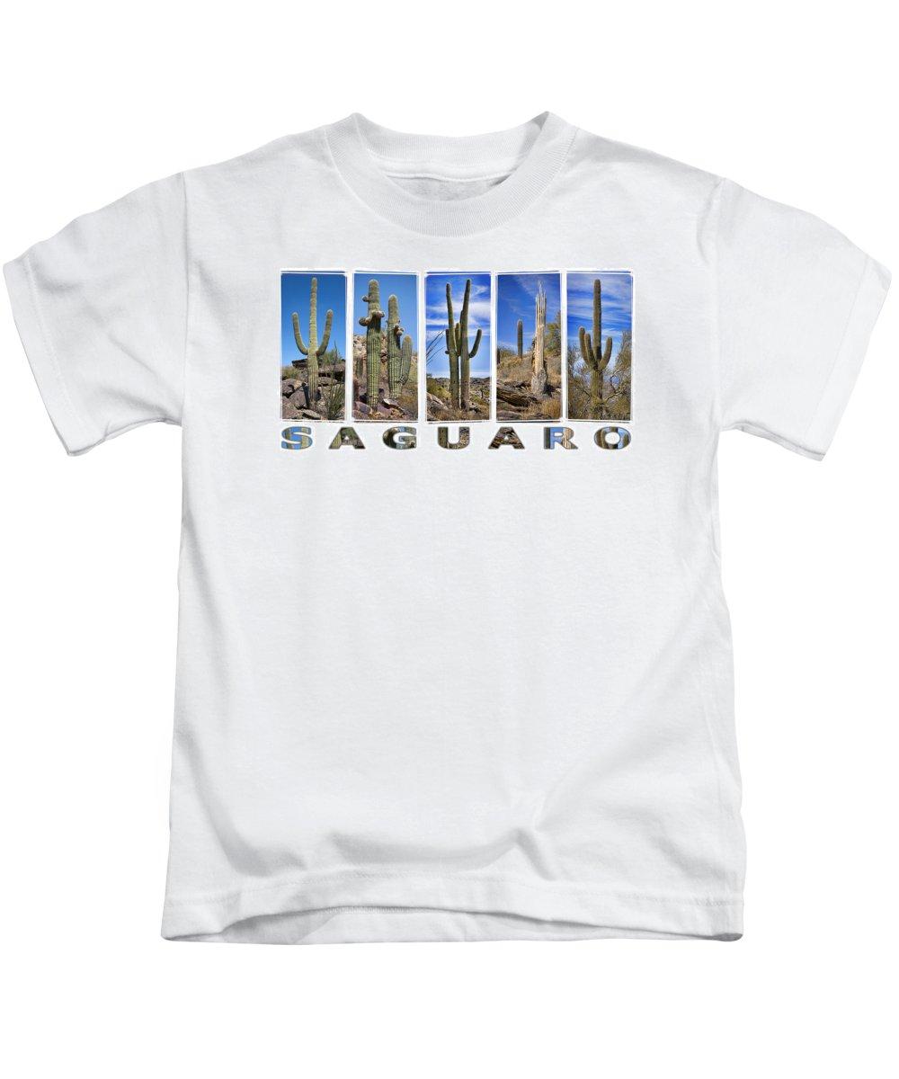 Saguaros Kids T-Shirt featuring the photograph Five Saguaros by Kelley King