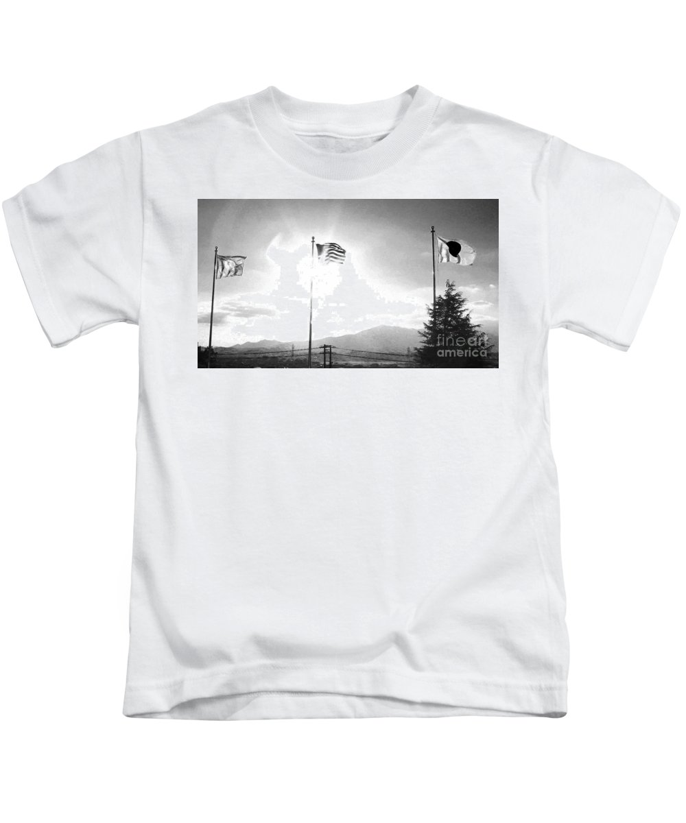 Flags Kids T-Shirt featuring the photograph Flags Of Camp Zama 4 by Jay Mann
