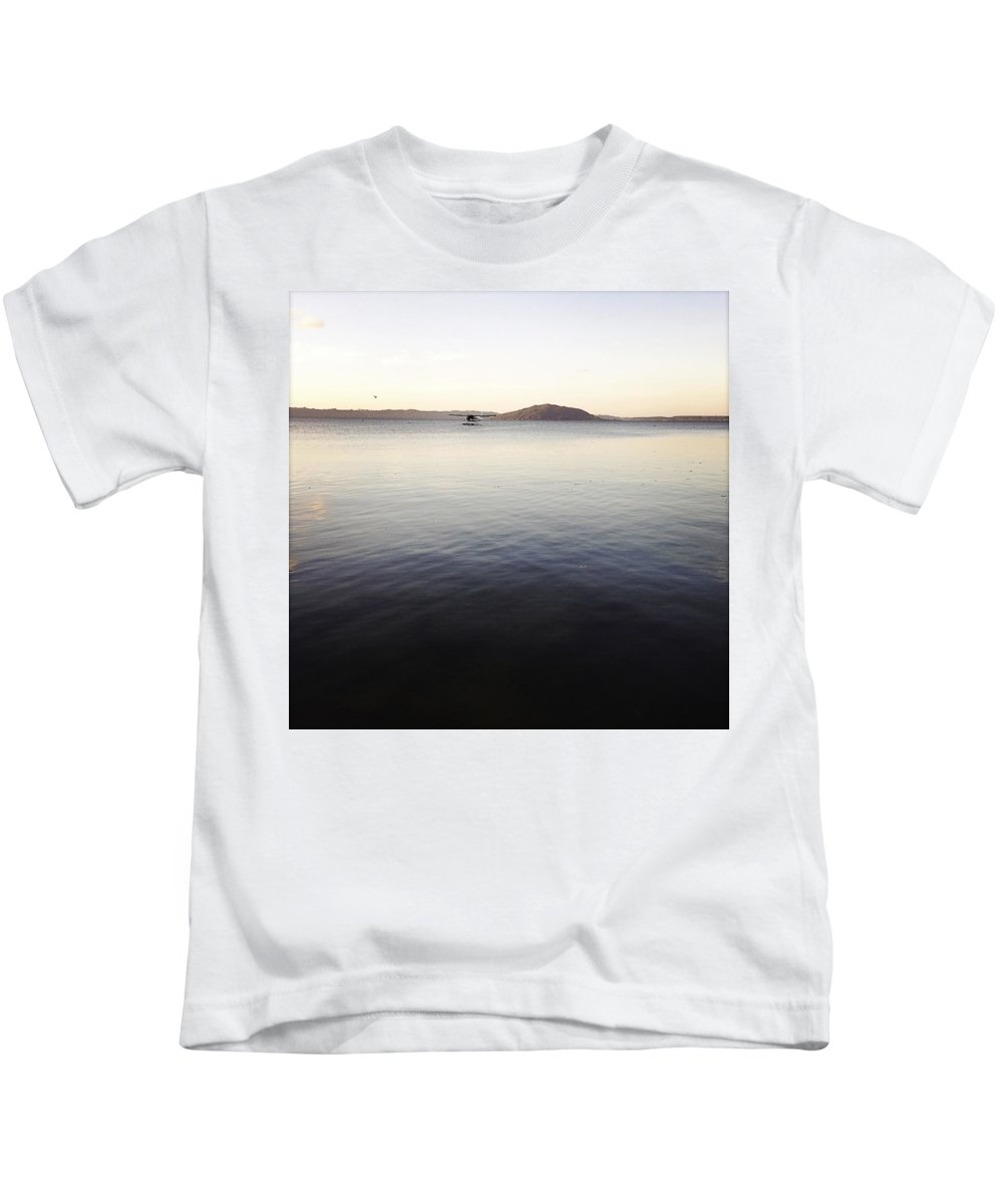 Dusk Kids T-Shirt featuring the photograph Float Plane by Les Cunliffe