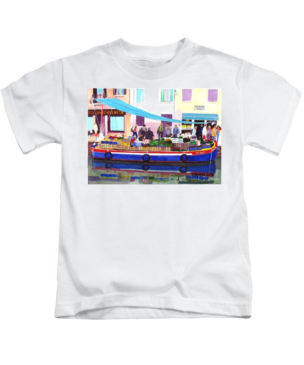 Canals Kids T-Shirt featuring the painting Floating Grocery Store by Mike Robles