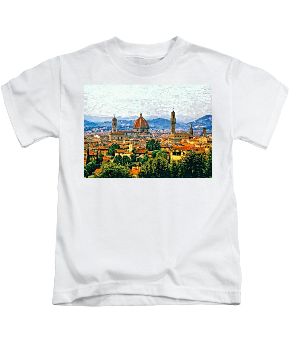Florence Kids T-Shirt featuring the photograph Florence Watercolor by Steve Harrington