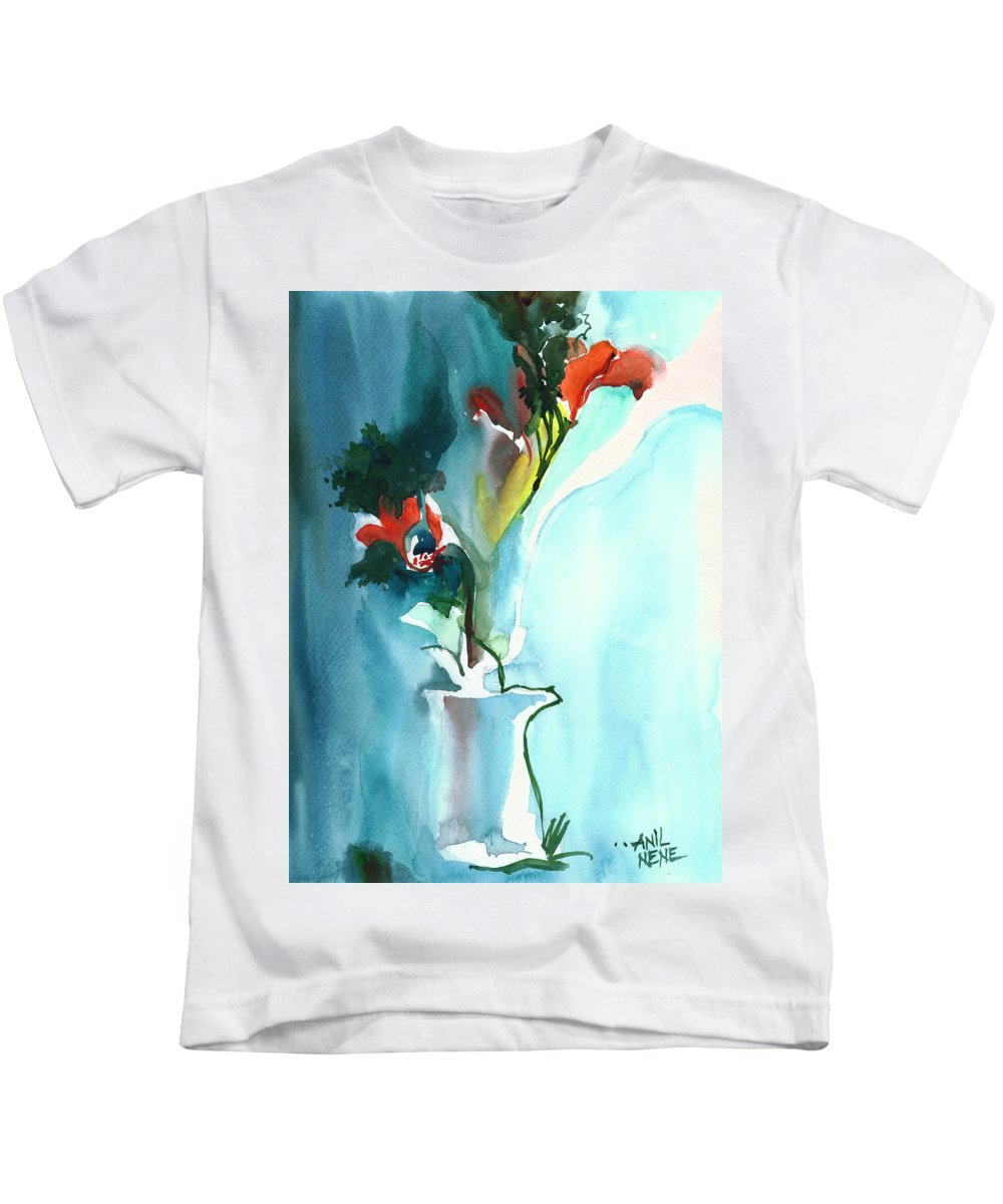 Nature Kids T-Shirt featuring the painting Flowers In Vase by Anil Nene