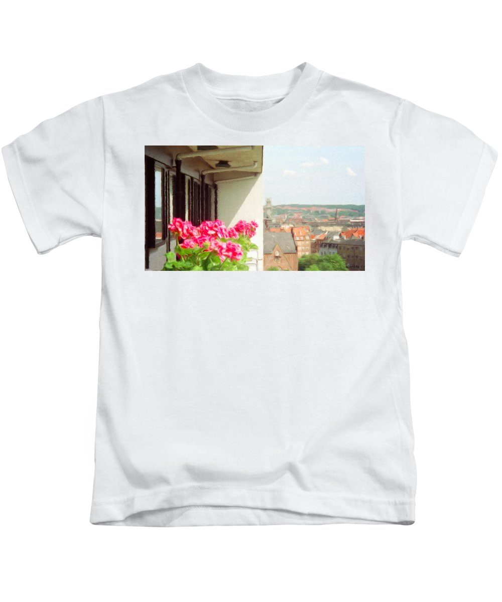 Aarhus Kids T-Shirt featuring the painting Flowers On The Balcony by Jeffrey Kolker