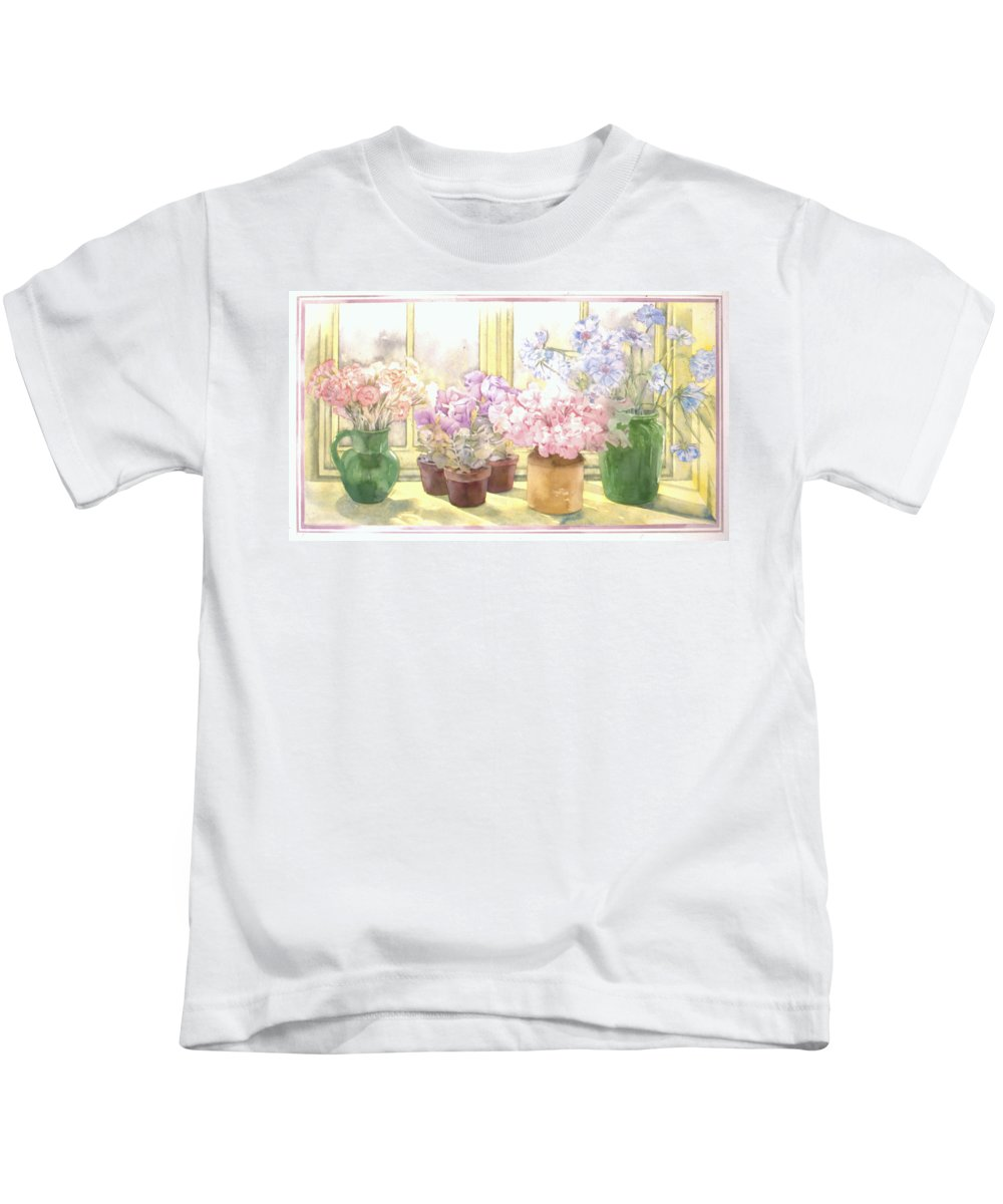 Julia Rowntree Kids T-Shirt featuring the photograph Flowers On The Windowsill by Julia Rowntree