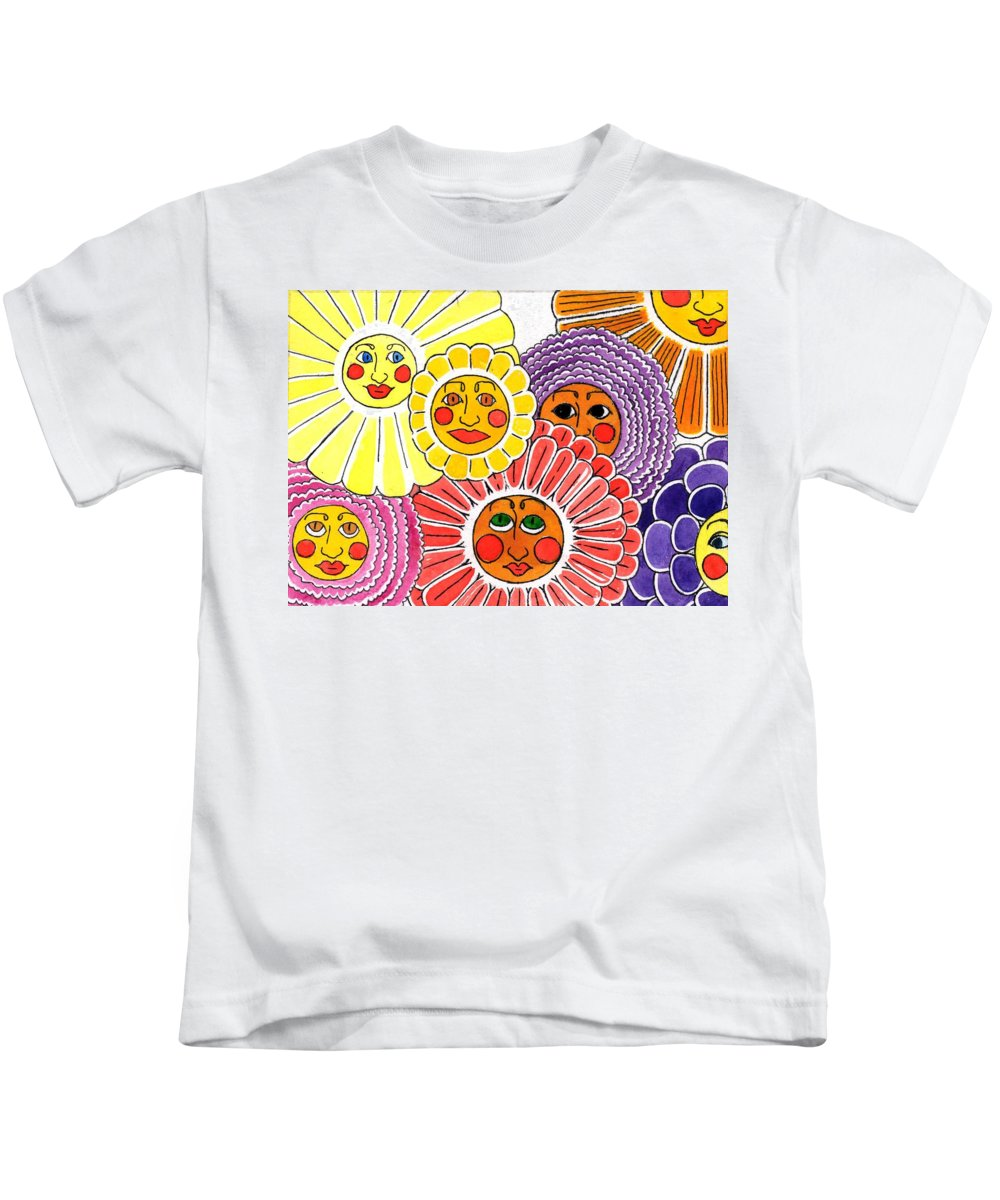 Flowers Kids T-Shirt featuring the painting Flowers With Faces by Genevieve Esson