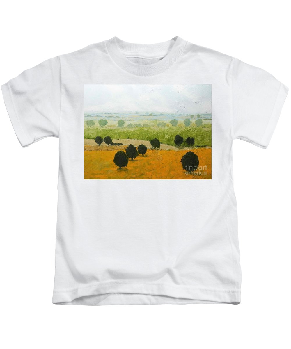 Landscape Kids T-Shirt featuring the painting Fog Lifting Fast by Allan P Friedlander