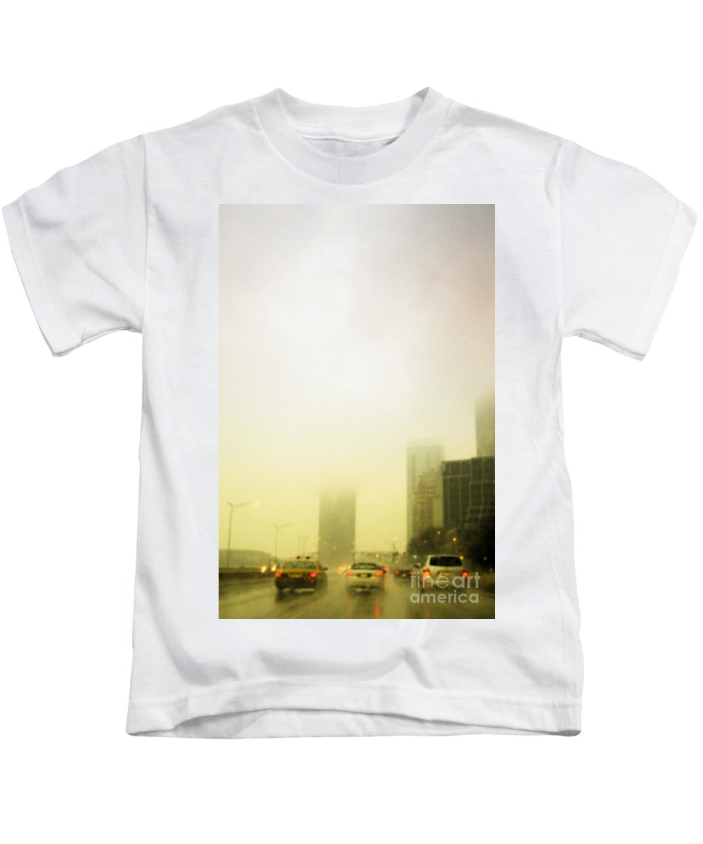 Cars; Traffic; Driving; Auto; Automobile; Automotive; Drive; Modern; City; Cityscape; Road; Outdoor; Outside; Perspective; Street; Transportation; Vehicle; Building; Busy; Chicago; Illinois; Lake Shore Drive; United States; Lights; Breaks; Rain; Rainy; Weather; Fog; Road; Highway; Brakes; Taxi; Cab Kids T-Shirt featuring the photograph Foggy Drive by Margie Hurwich