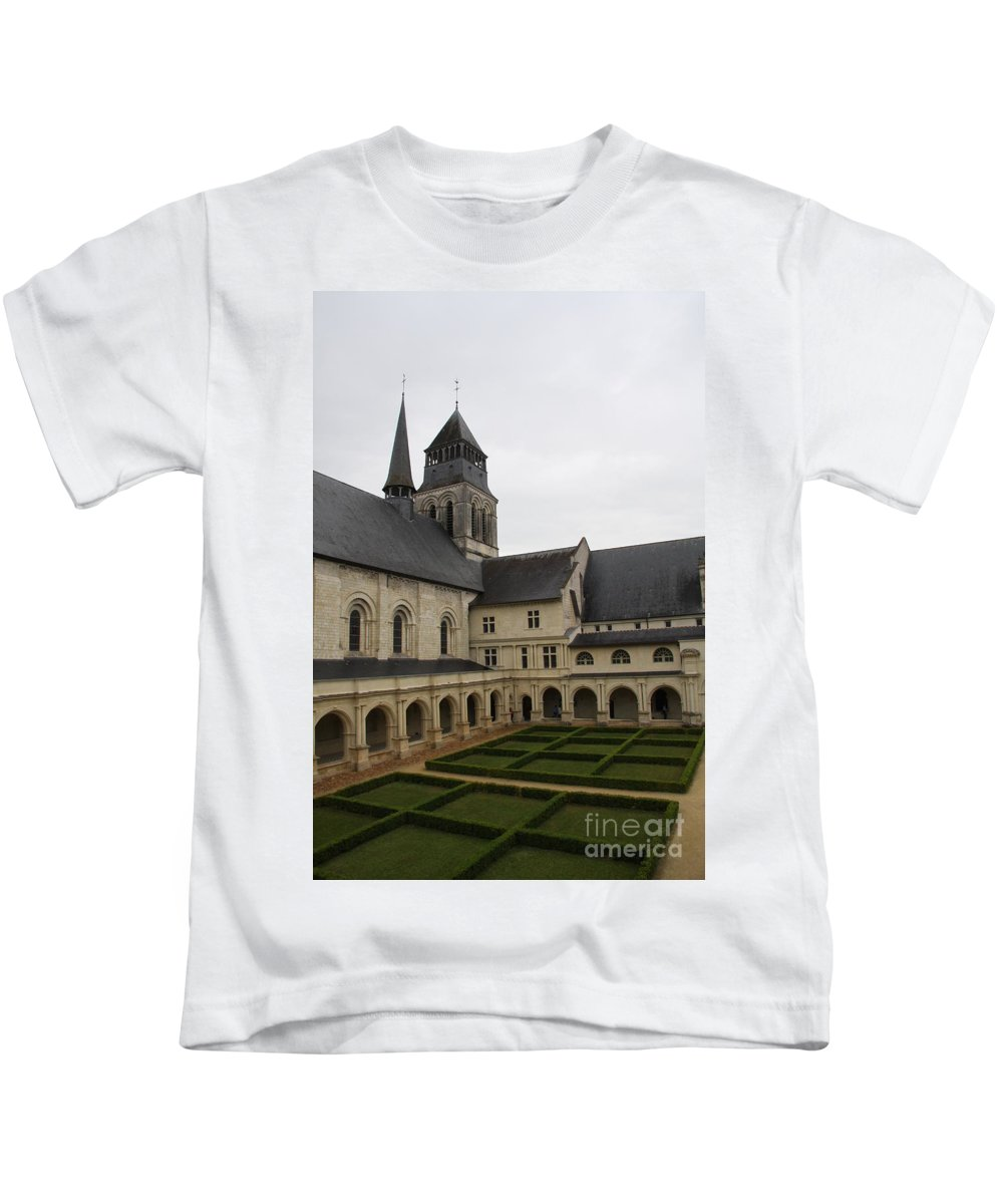 Cloister Kids T-Shirt featuring the photograph Fontevraud Abbey Courtyard - France by Christiane Schulze Art And Photography