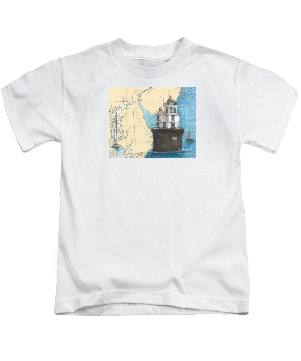 Fourteen Kids T-Shirt featuring the painting Fourteen Ft Bank Lighthouse De Nautical Chart Map Art by Cathy Peek