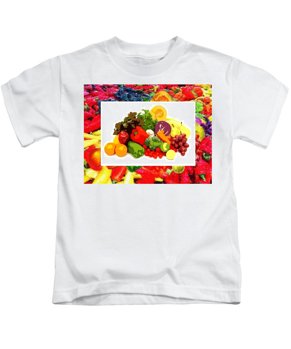 Framed Veggies Kids T-Shirt featuring the digital art Framed Veggies by Catherine Lott