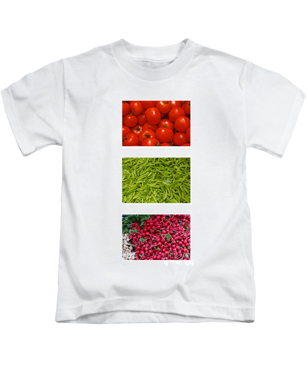 Tomato Kids T-Shirt featuring the photograph Fresh Vegetable Triptych by Thomas Marchessault