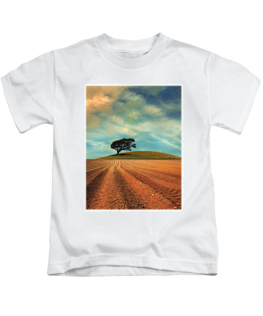 Plough Kids T-Shirt featuring the photograph Furrows by Mal Bray