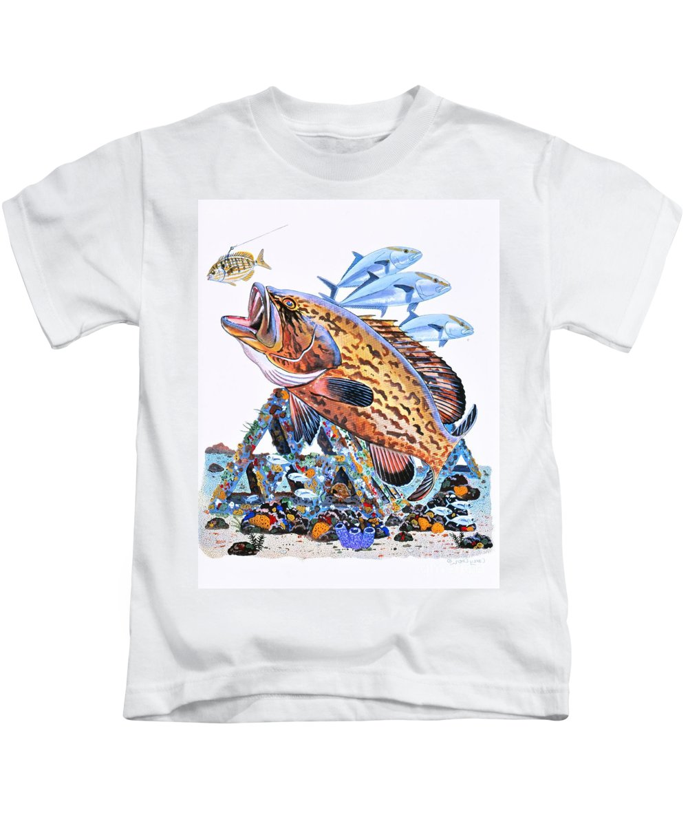 Gag Grouper Kids T-Shirt featuring the painting Gag Grouper by Carey Chen
