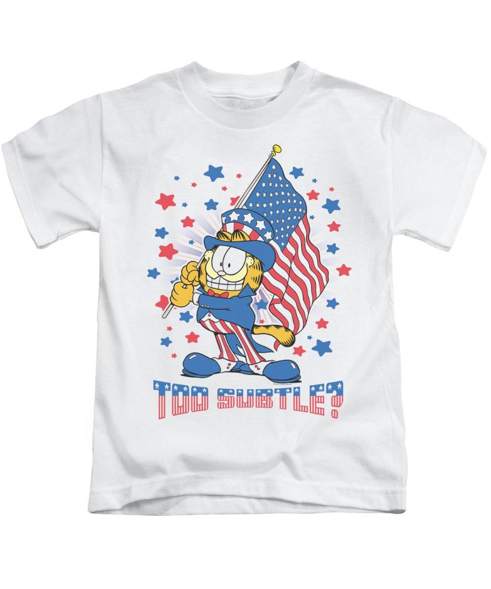 Garfield Kids T-Shirt featuring the digital art Garfield - Subtle by Brand A