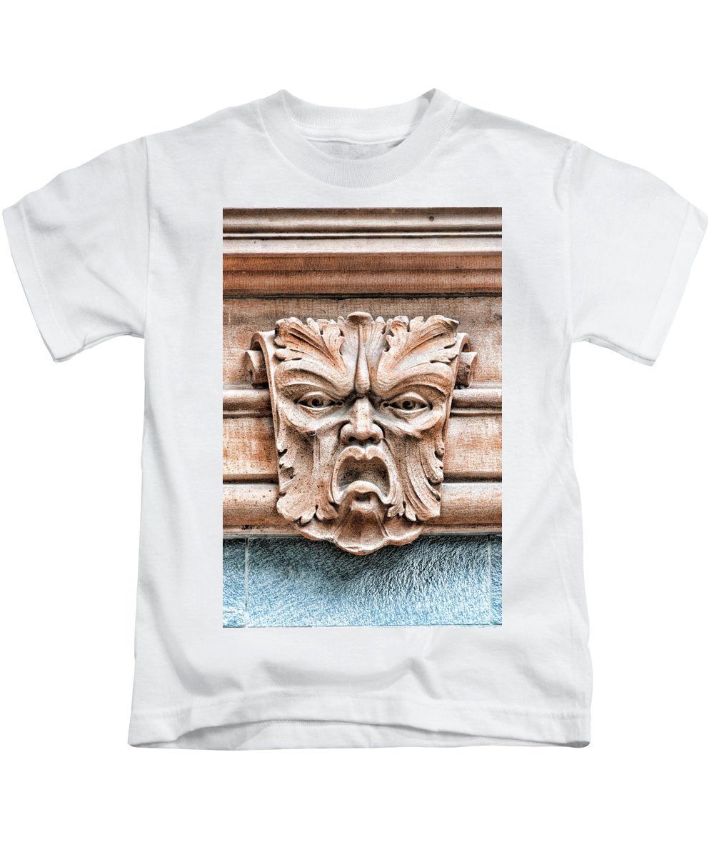 Head Kids T-Shirt featuring the photograph Gargoyle Head Helsingborg by Antony McAulay