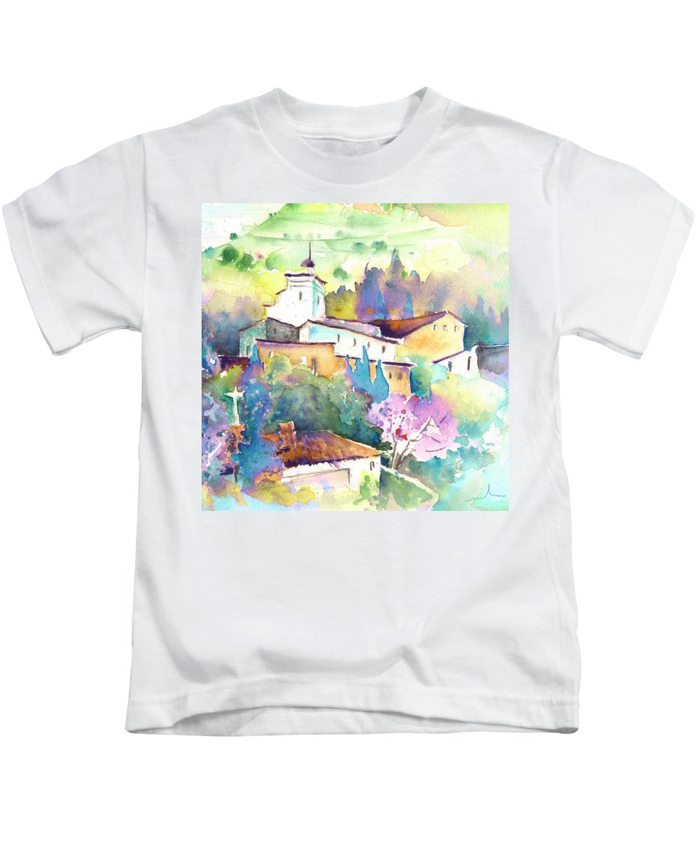 Travel Kids T-Shirt featuring the painting Gatova Spain 02 by Miki De Goodaboom
