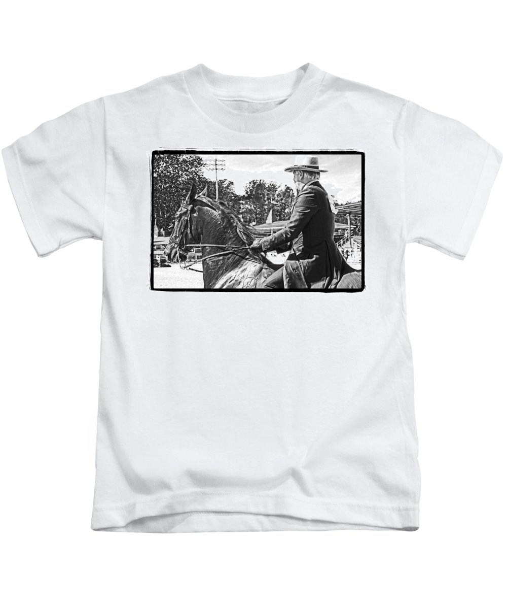 Horse Kids T-Shirt featuring the photograph Gentleman Rider by Alice Gipson
