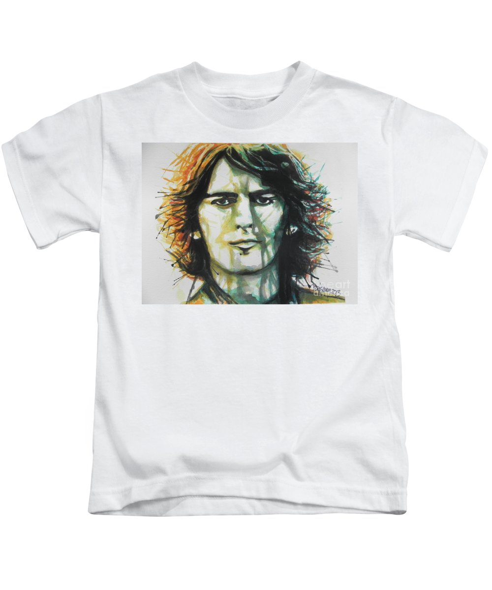 Watercolor Painting Kids T-Shirt featuring the painting George Harrison 01 by Chrisann Ellis