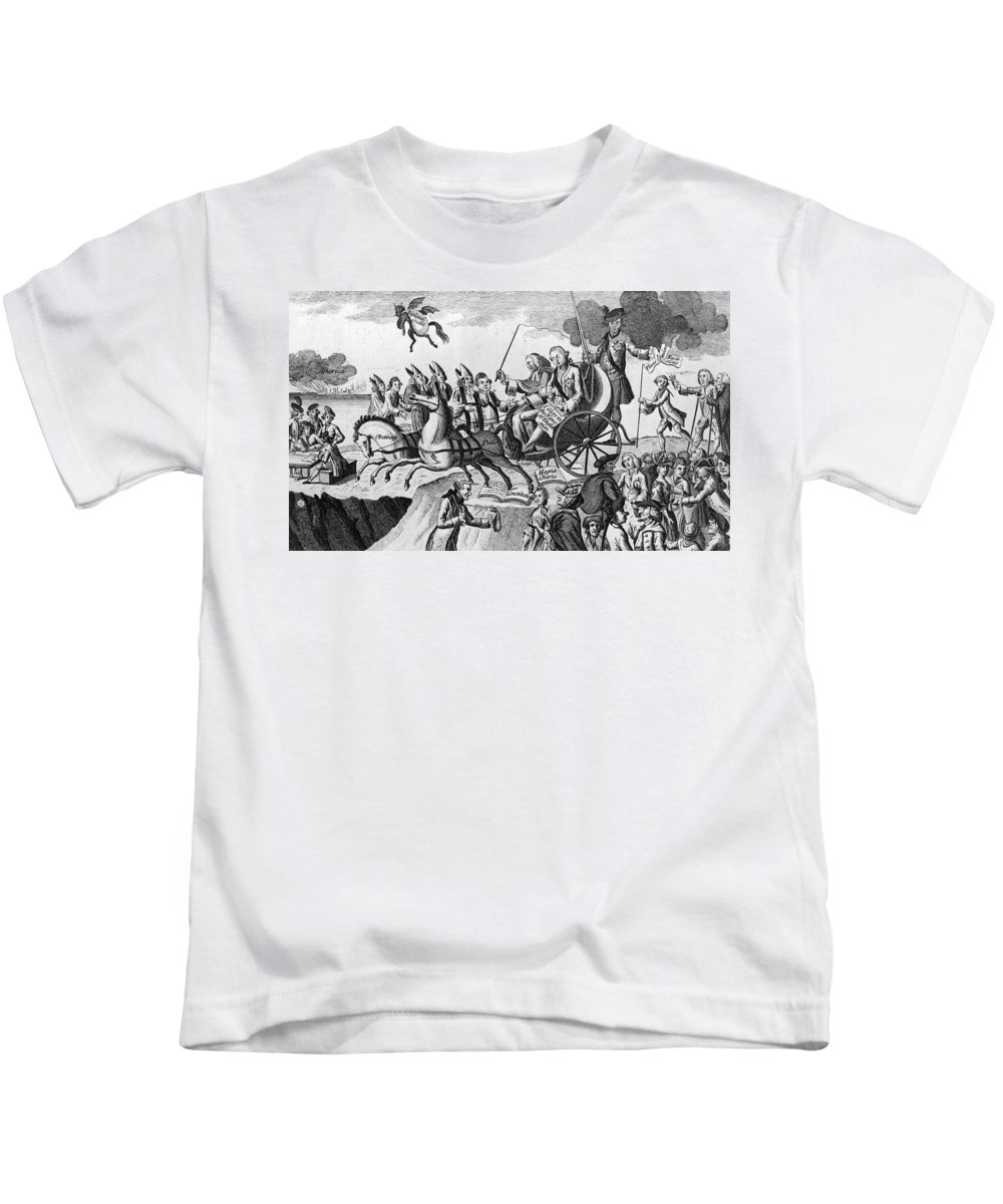 1775 Kids T-Shirt featuring the photograph George IIi Cartoon, 1775 by Granger