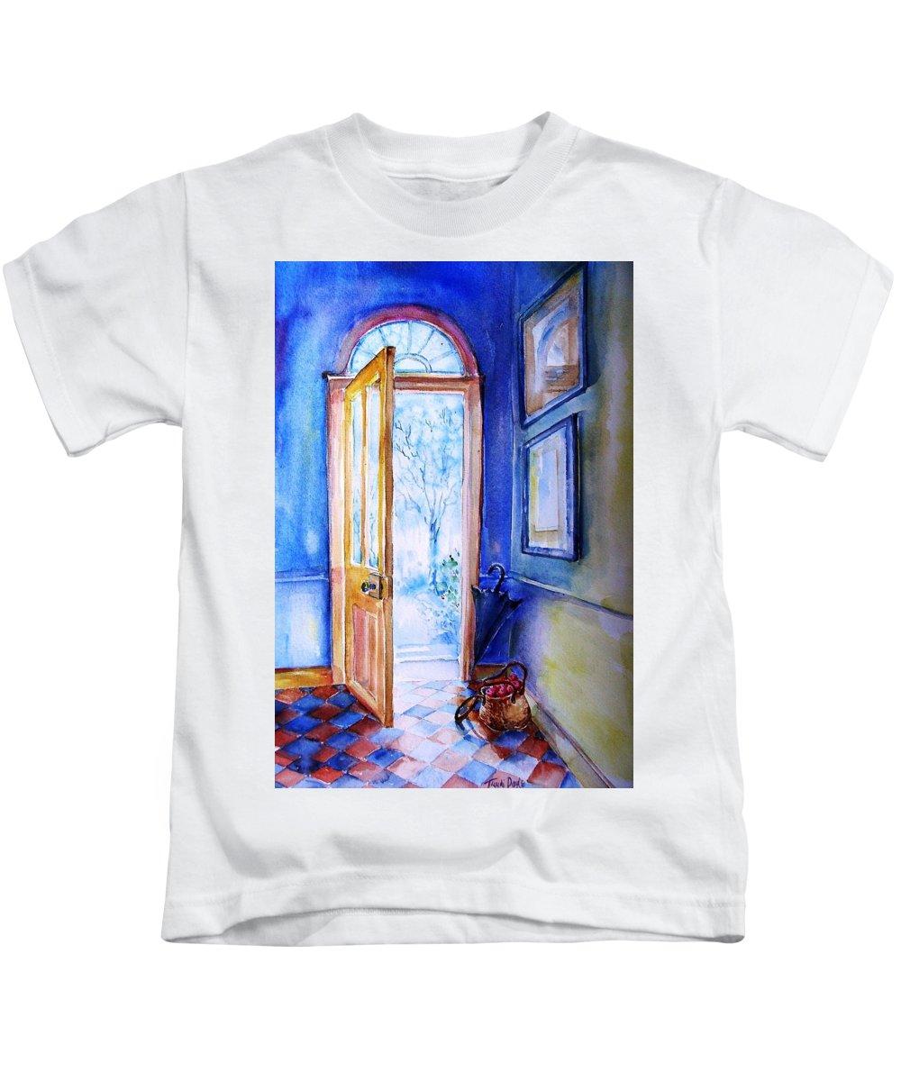 G Interior Ireland Kids T-Shirt featuring the painting Winter Doorway Ireland  by Trudi Doyle
