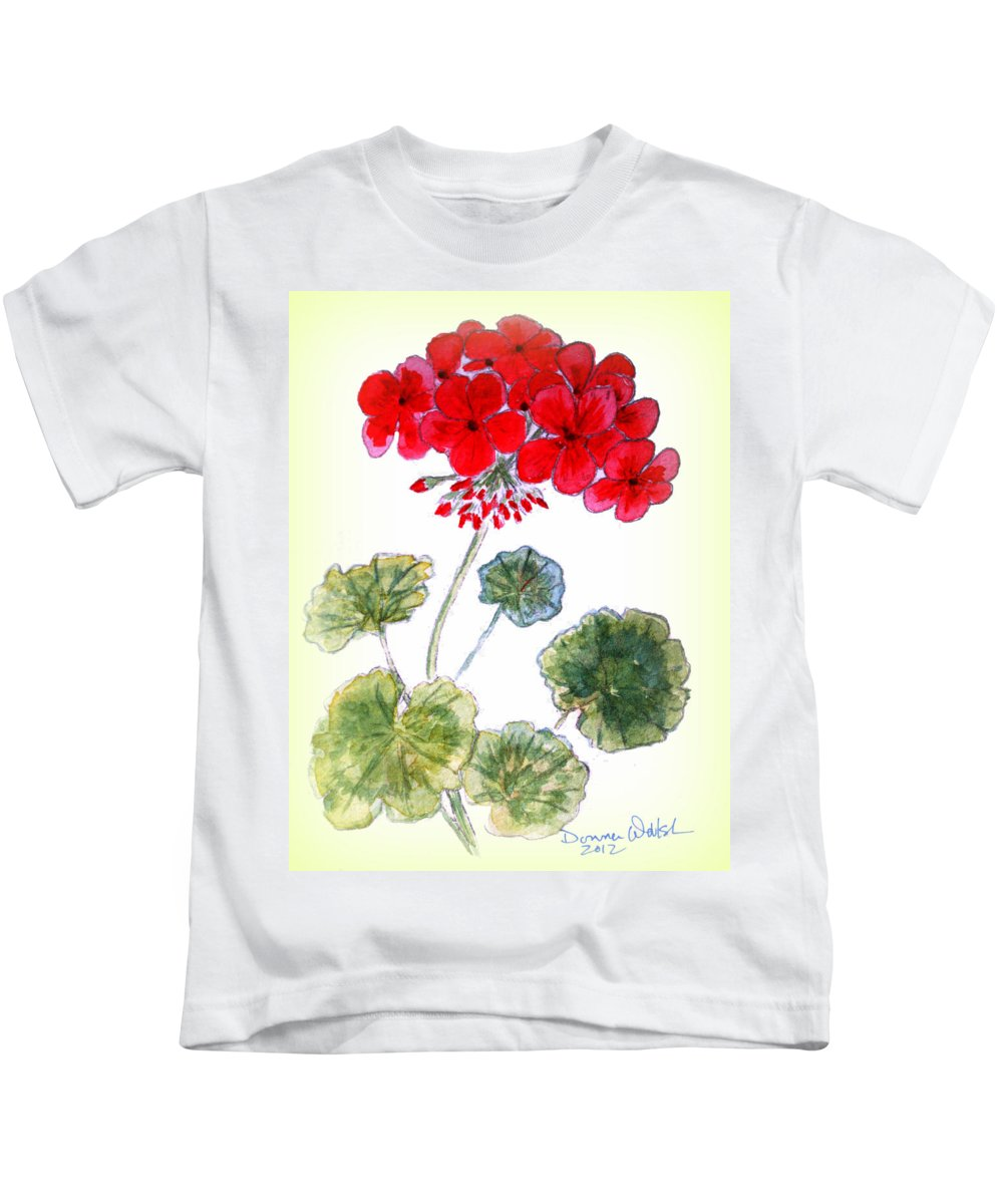 Geranium Kids T-Shirt featuring the painting Geranium by Donna Walsh