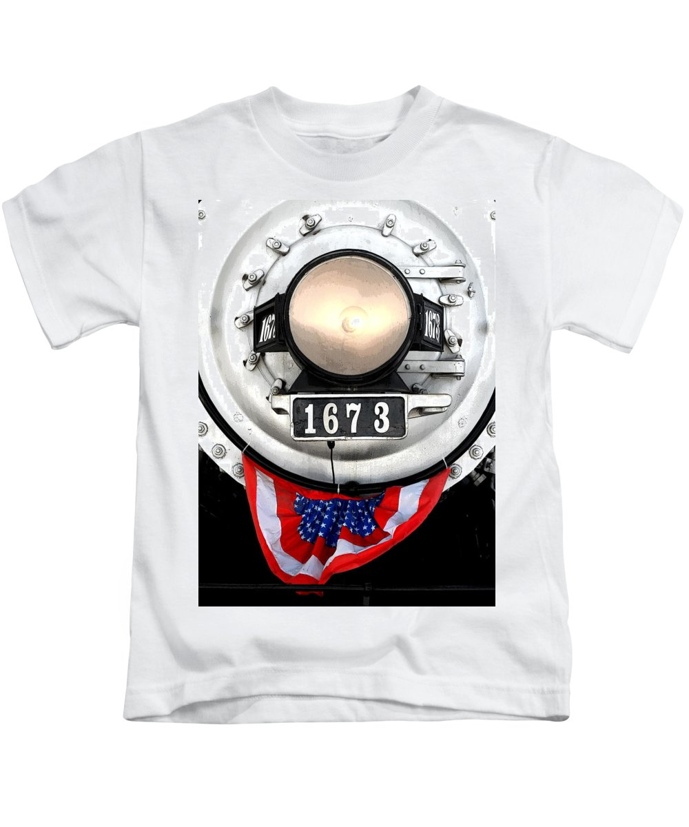 Railroad Kids T-Shirt featuring the photograph Ghost Engine by Joe Kozlowski