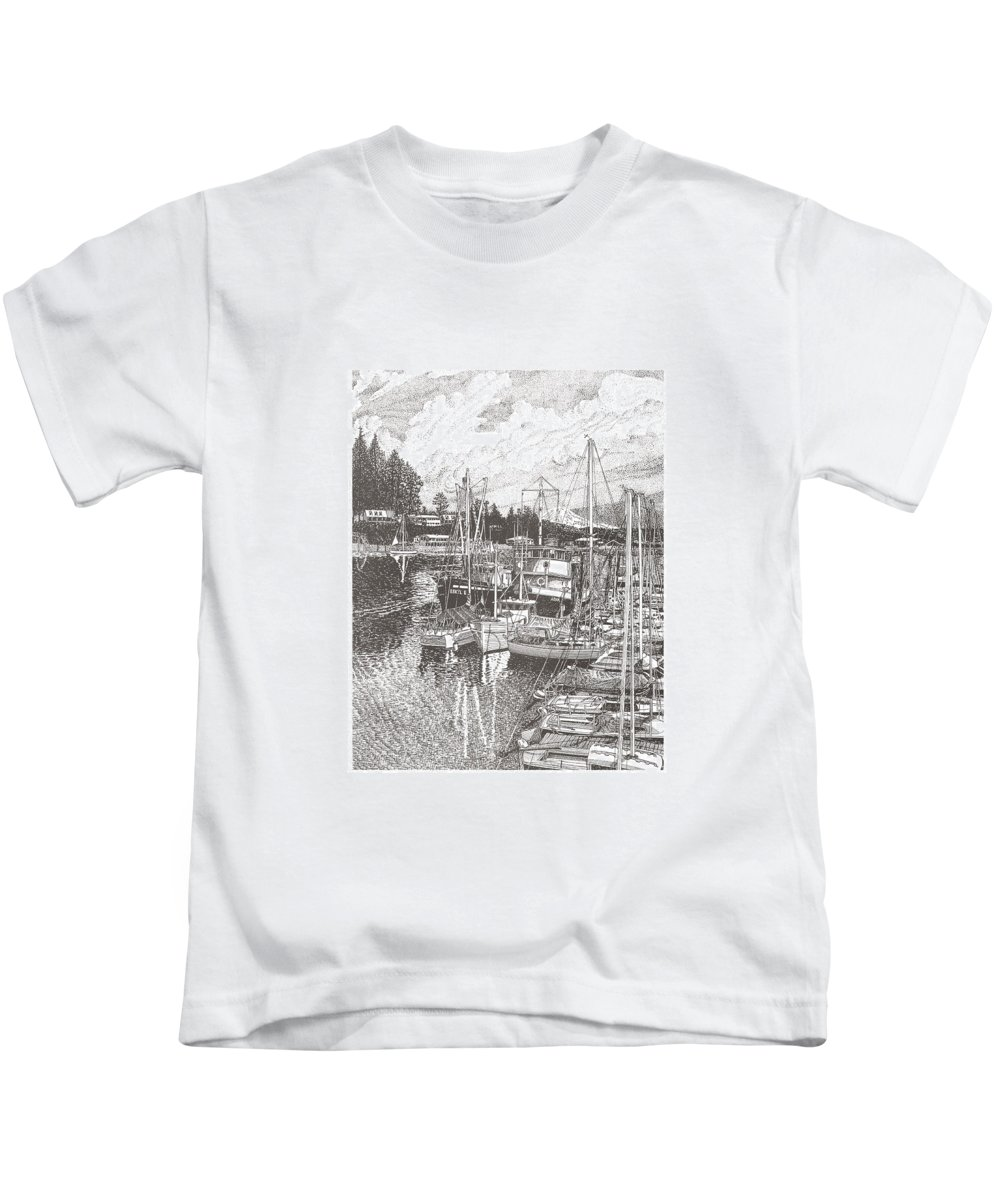 Yacht Portraits Kids T-Shirt featuring the drawing Gig Harbor Entrance by Jack Pumphrey