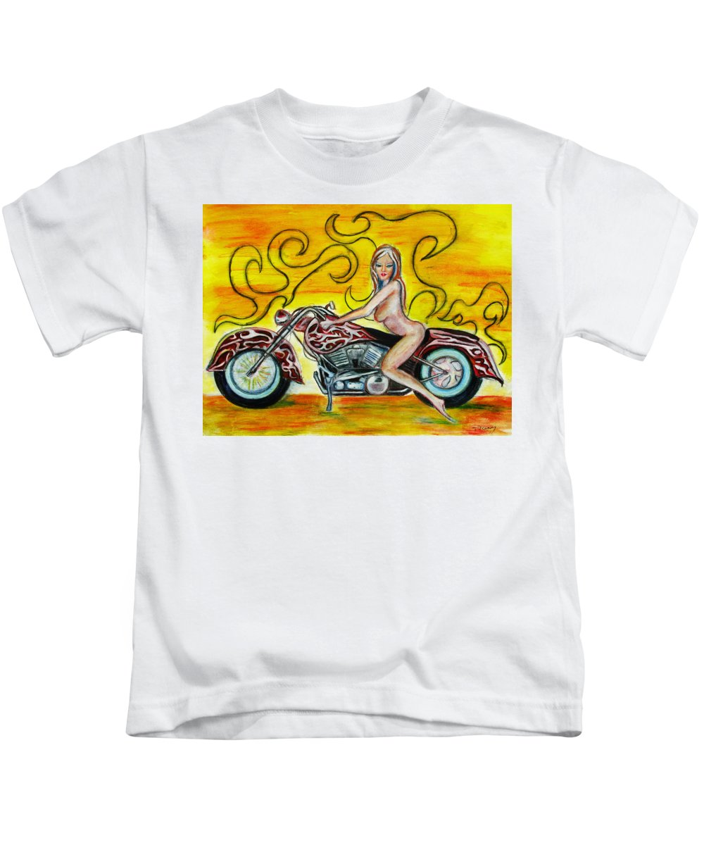 Nude Kids T-Shirt featuring the Girl On A Motorcycle by Tom Conway