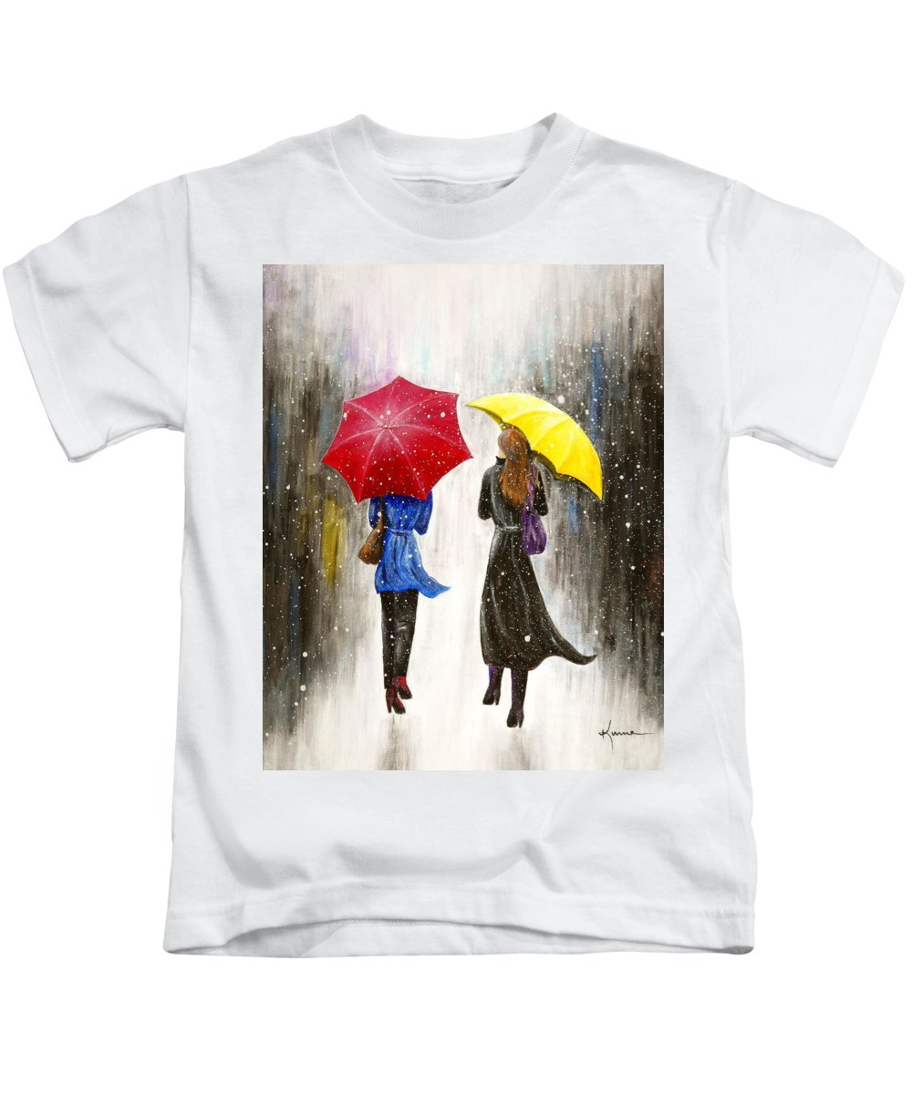 Modern Kids T-Shirt featuring the painting Girlfriends by Kume Bryant