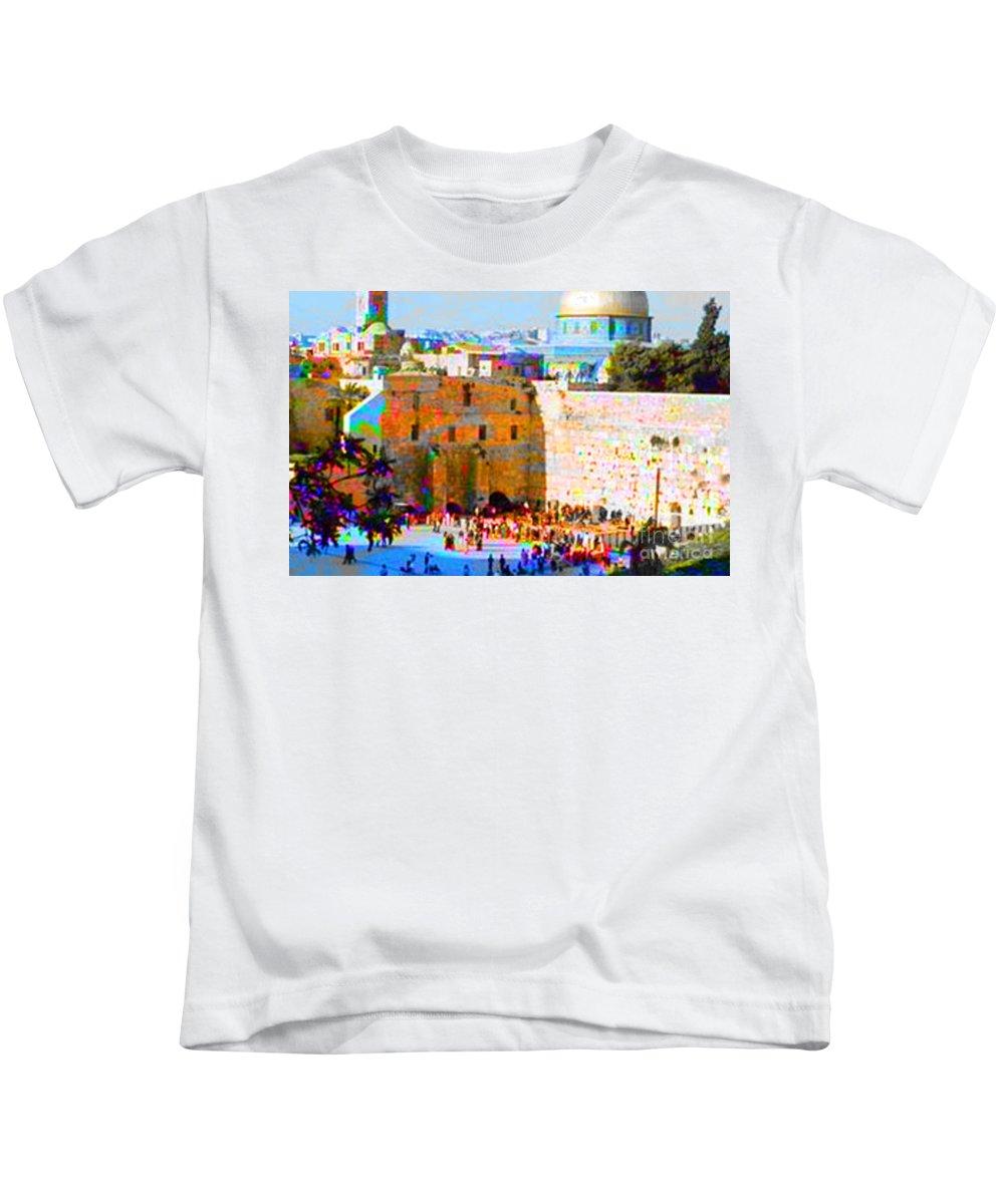 Spirtual Digital Art Kids T-Shirt featuring the digital art God Is Everywhere by Yael VanGruber