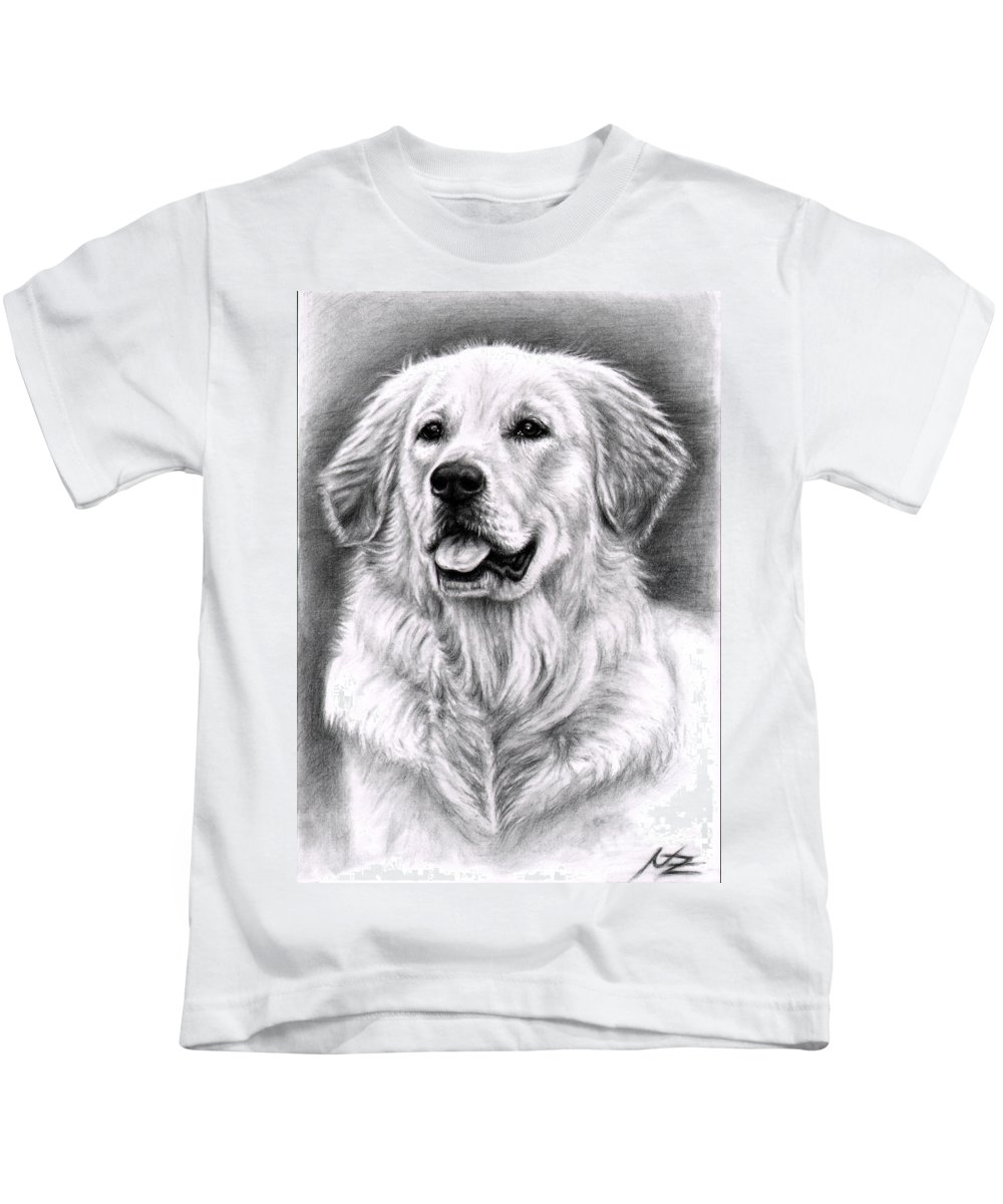 Dog Kids T-Shirt featuring the drawing Golden Retriever Spence by Nicole Zeug