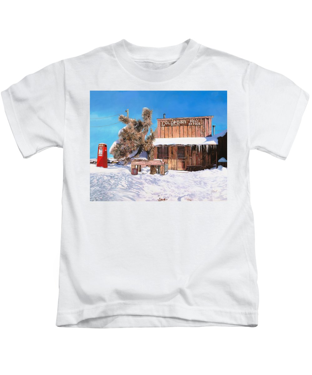 Gold Kids T-Shirt featuring the painting Goldpoint-nevada by Guido Borelli