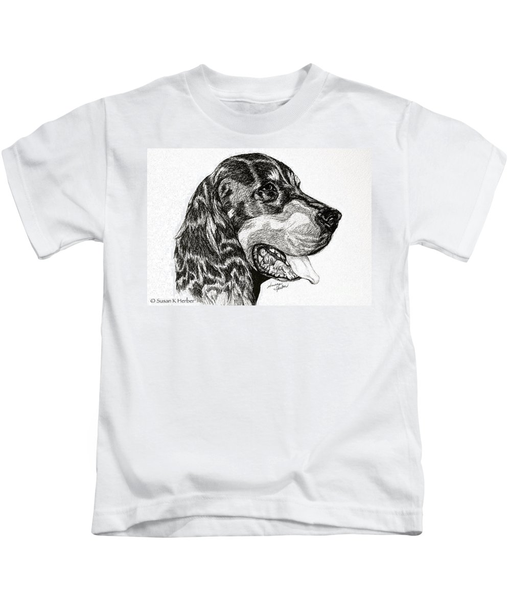 Dog Kids T-Shirt featuring the drawing Gordon Setter by Susan Herber