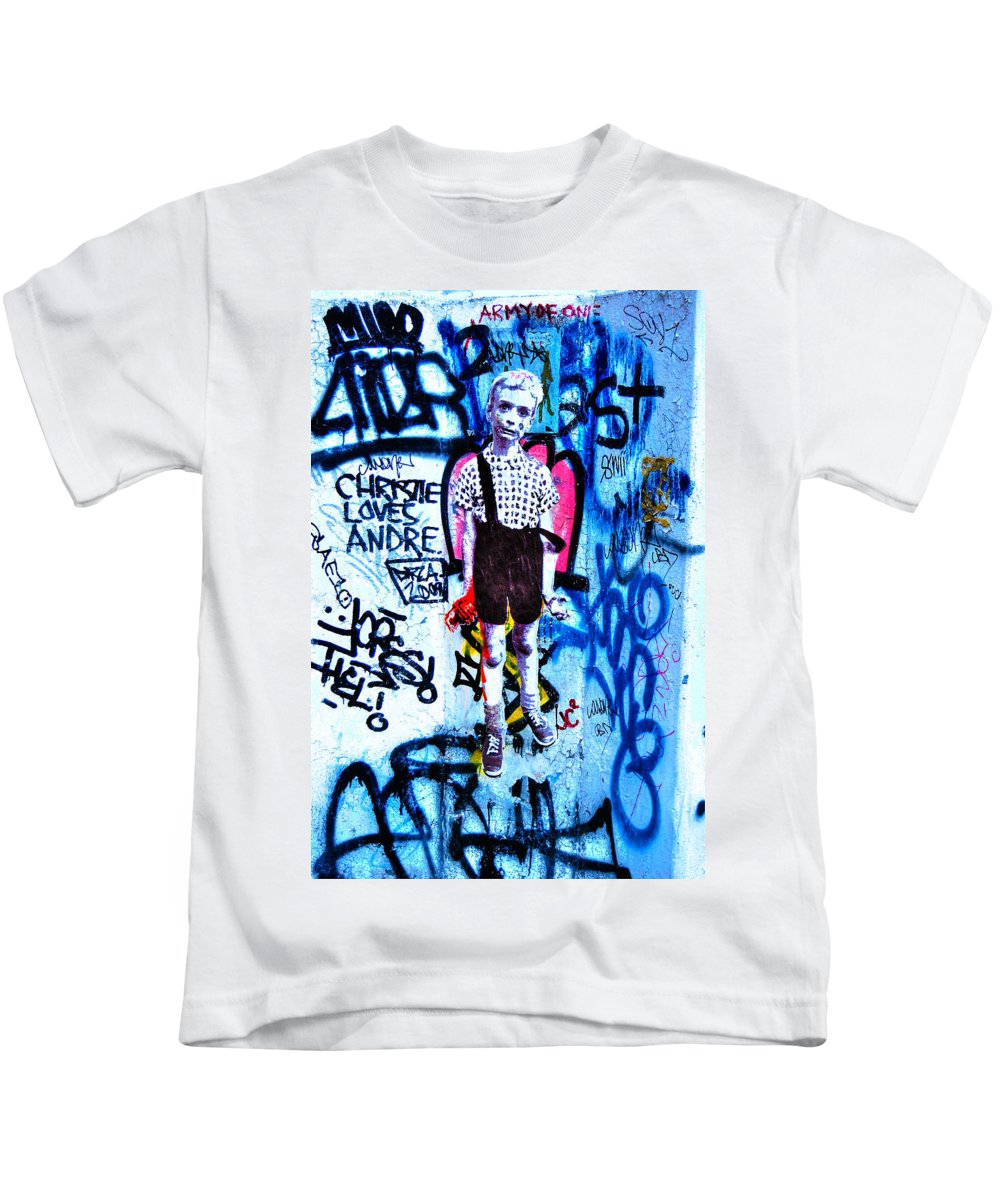 Child With Toy Hand Grenade Kids T-Shirt featuring the photograph Graffiti Rendition Of Diane Arbus's Photo - Child With Toy Hand Grenade In Central Park by Randy Aveille