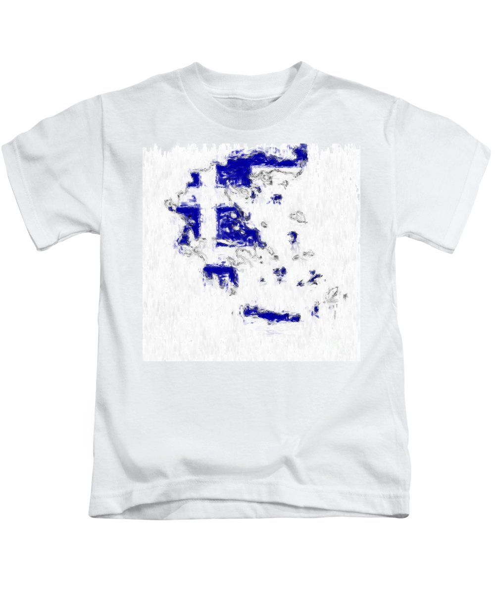 Greece Kids T-Shirt featuring the photograph Greece Painted Flag Map by Antony McAulay