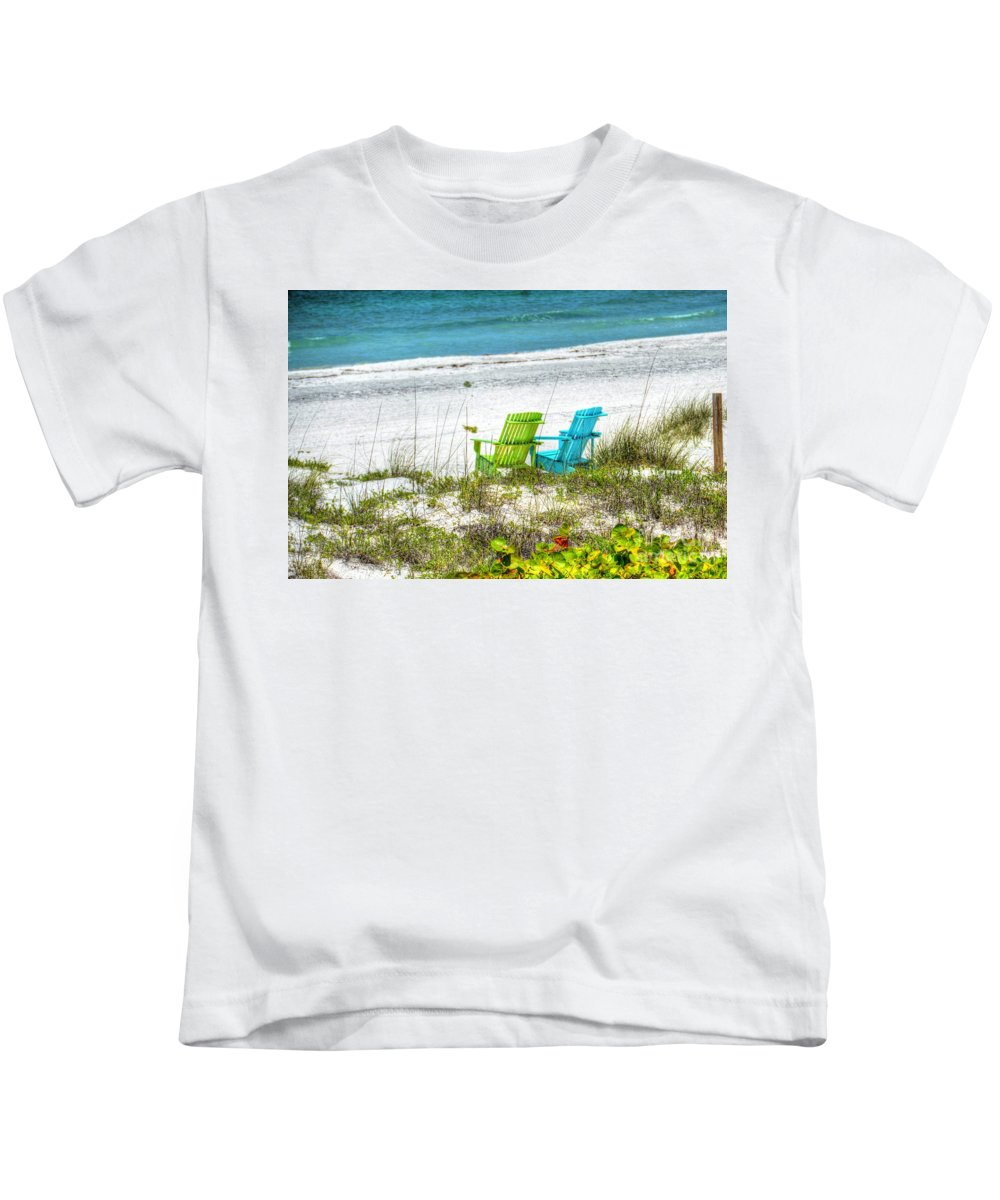 Chairs Kids T-Shirt featuring the photograph Green And Blue Chairs by Debbi Granruth